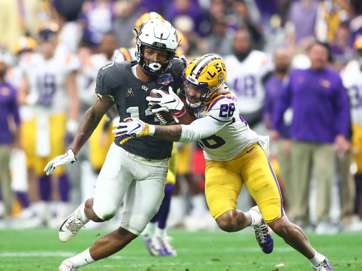 LSU cornerback Mannie Netherly makes a tackle in the 2019 Fiesta Bowl