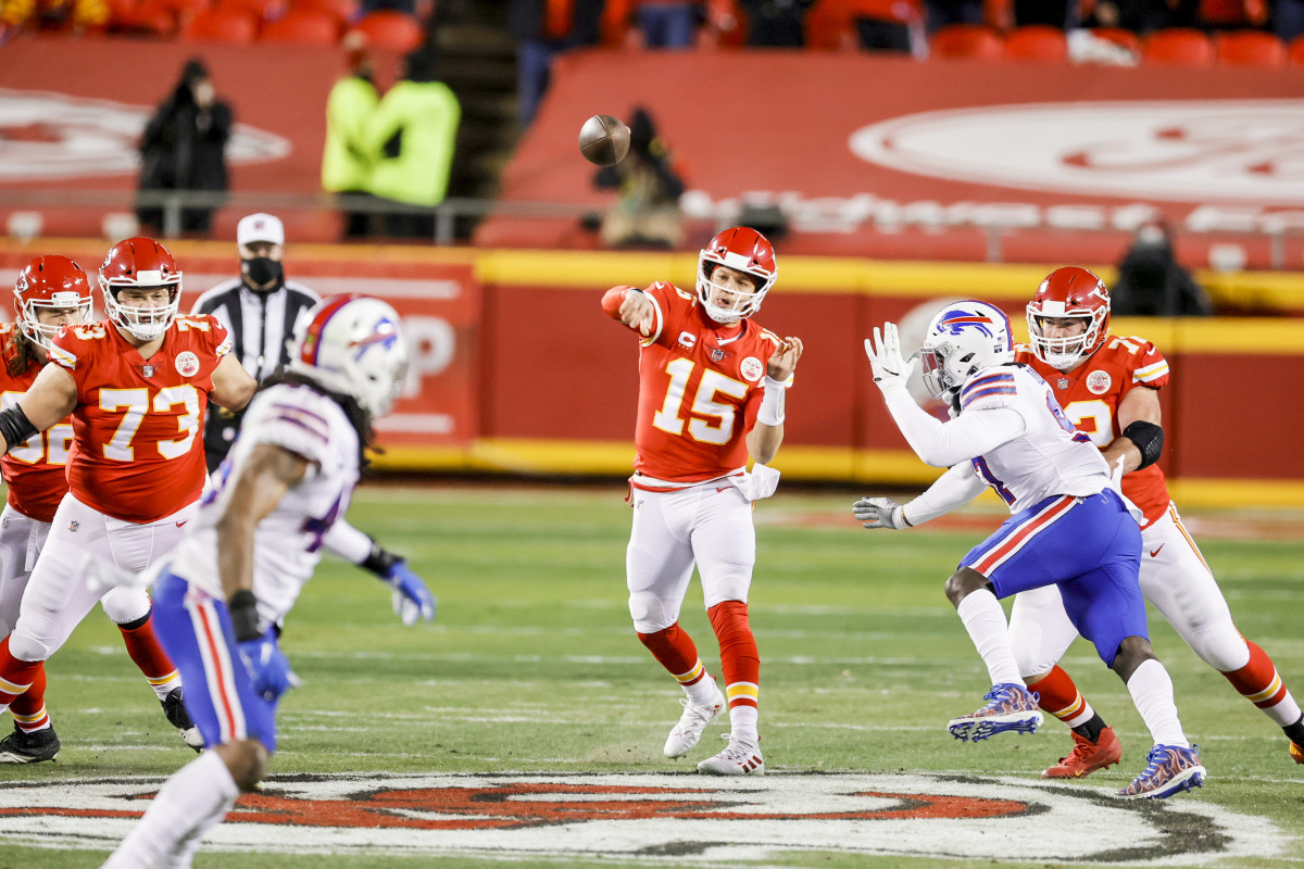 Mahomes's AFC Championship Game stat line, against the Bills: 29 of 38, for 325 yards, three TDs and, duh, zero INTs.