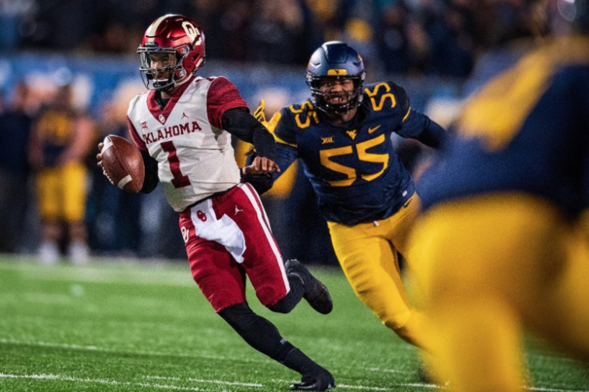 A threat through the air and on the ground, Kyler Murray flashed his wheels with a 55-yard touchdown run against West Virginia.