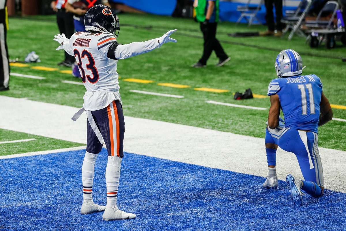 Chicago Bears cornerback Jaylon Johnson celebrates an incomplete pass intended for Detroit Lions receiver Marvin Jones on the final play of the Lions' 27-23 loss at Ford Field, Sunday, Sept. 13, 2020.