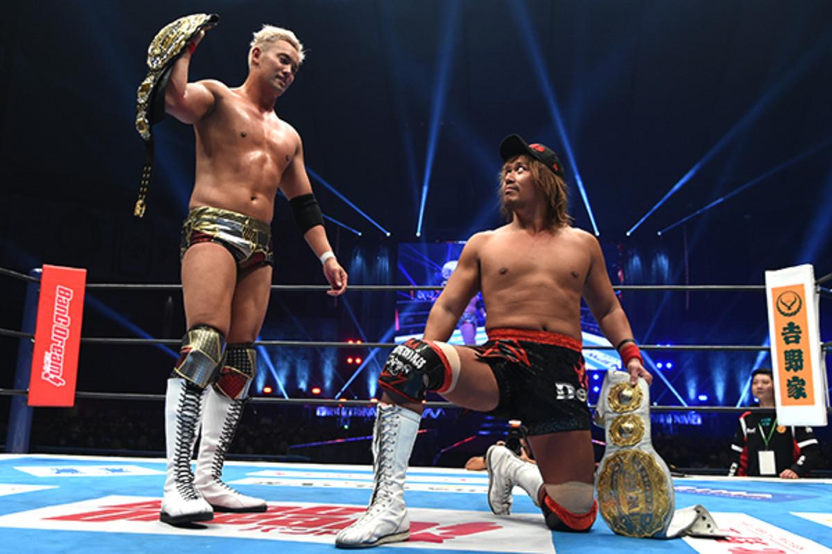 NJPW's Kazuchika Okada and Tetsuya Naito in the ring with their championship belts