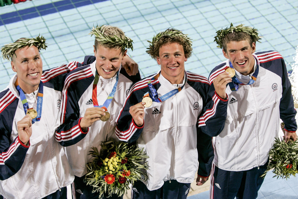 The 4x200 gang, in better times: Keller, Vanderkaay, Lochte and Phelps.