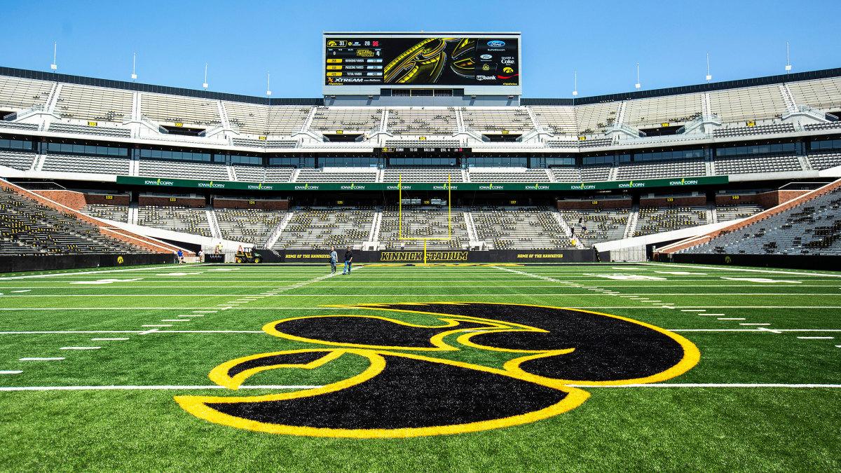 Iowa's logo is seen at Kinnick Stadium