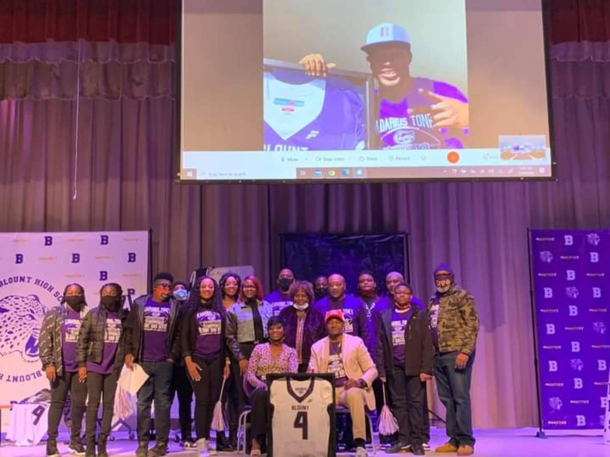 Toney's family gathers for his jersey retirement ceremony while Kadarius Toney (above) joins via webcam. Photo Courtesy: Toney Family