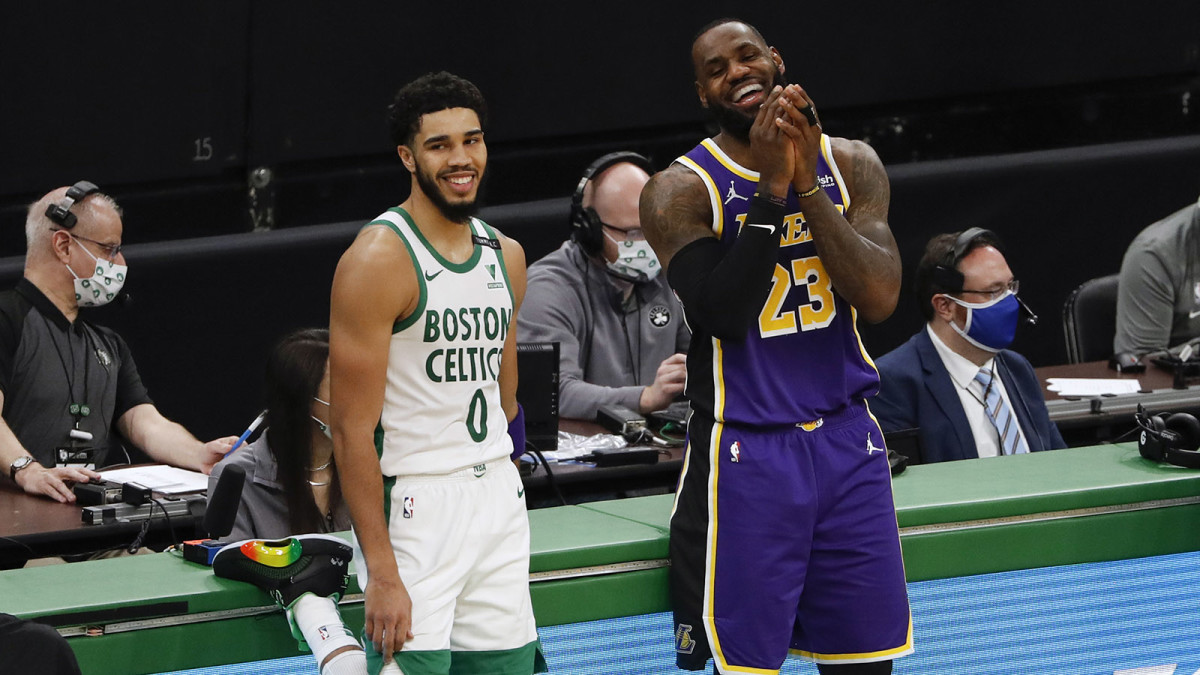 Jayson Tatum and LeBron James
