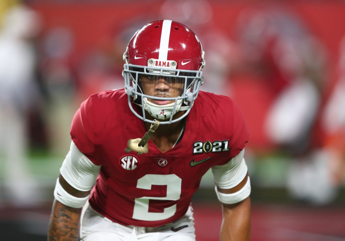 Alabama Crimson Tide defensive back Patrick Surtain II (2) against the Ohio State Buckeyes in the 2021 College Football Playoff National Championship Game.