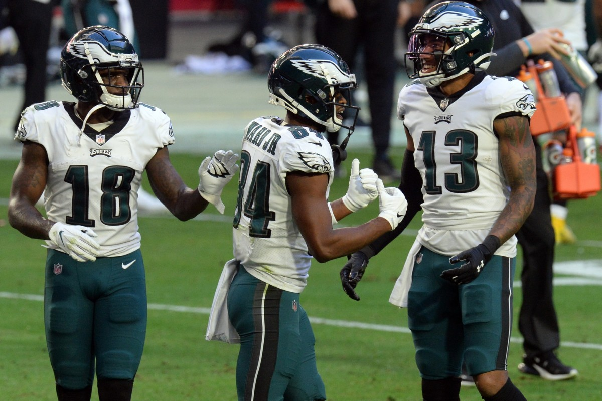 Eagles WRS (left to right) Jalen Reagor, Greg Ward, and Travis Fulgham