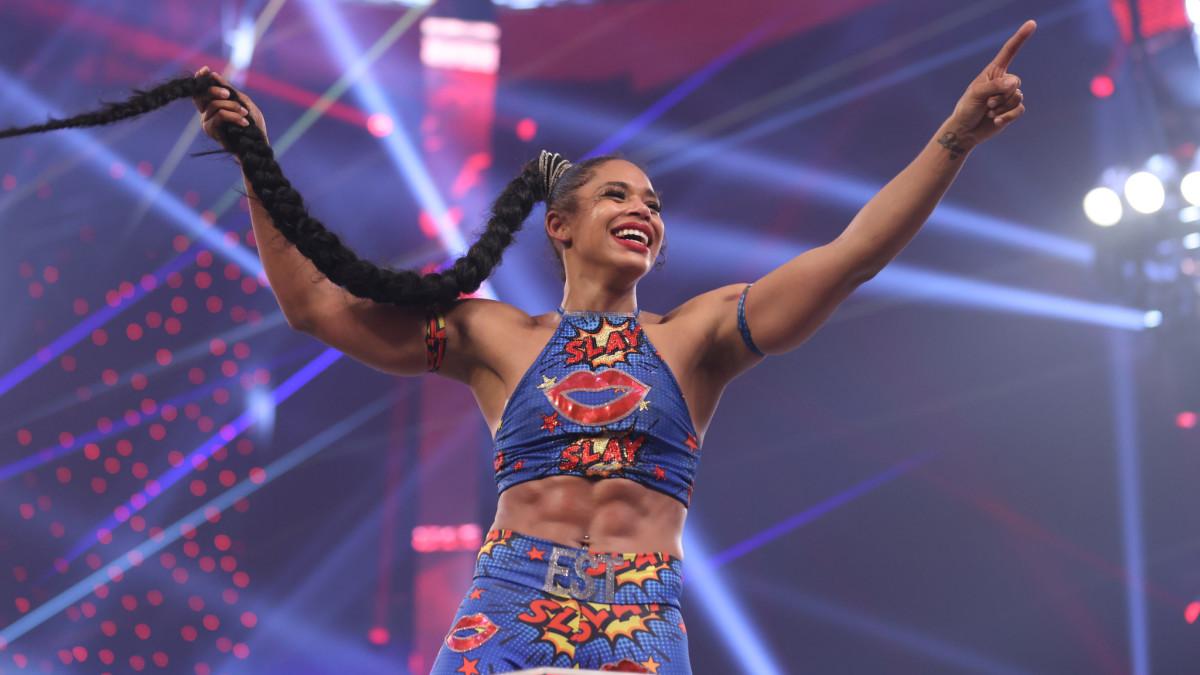 Bianca Belair celebrates after winning the Royal Rumble