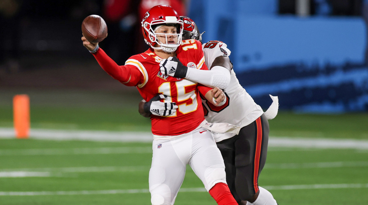 Patrick Mahomes is tackled in Super Bowl LV.