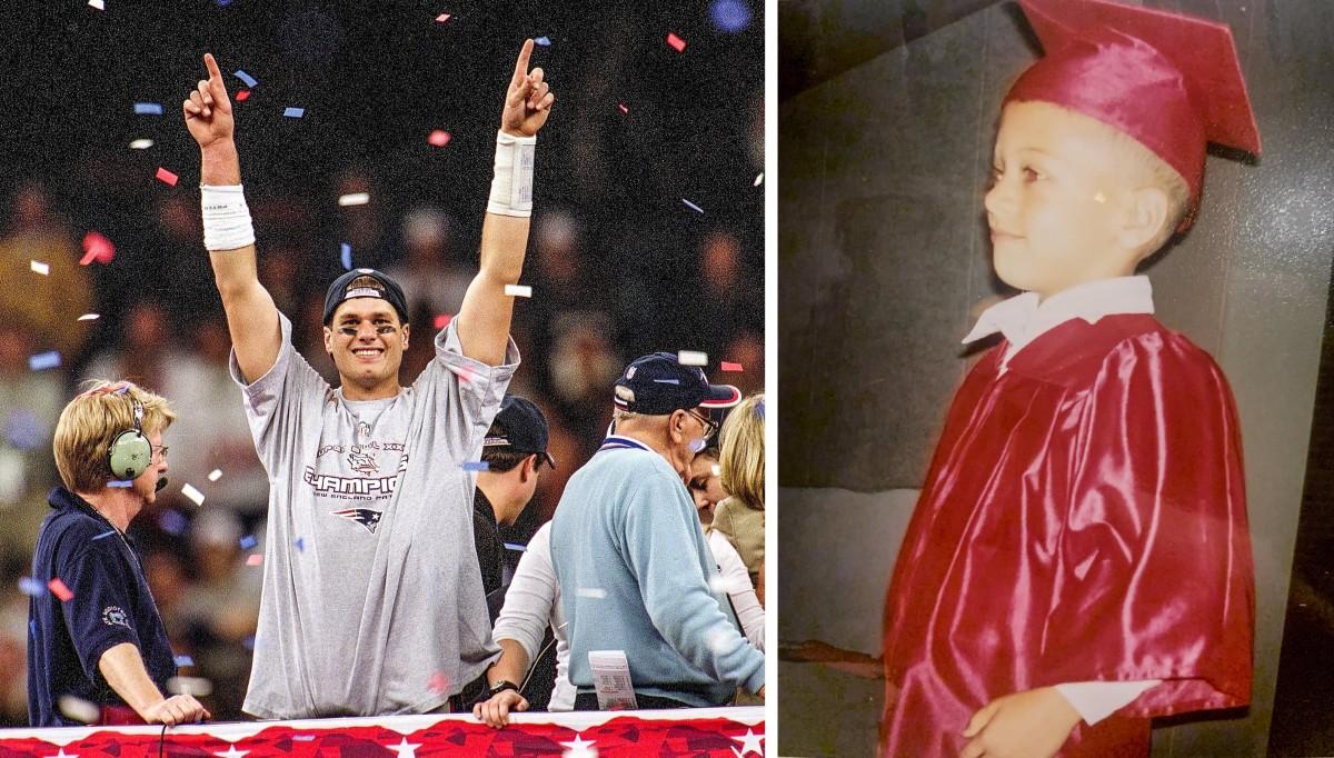 Tom Brady at Super Bowl XXXVI and Patrick Mahomes at kindergarten graduation, both in 2002