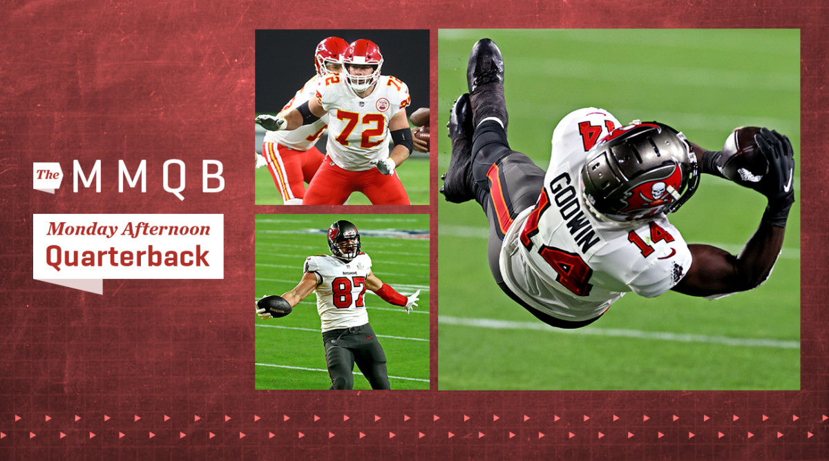 Chiefs lineman Eric Fisher, Bucs tight end Rob Gronkowski and Bucs wide receiver Chris Godwin