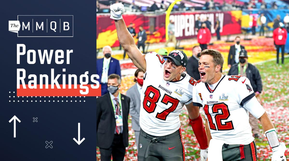 Tom Brady and Rob Gronkowski celebrate the Buccaneers' Super Bowl LV win.