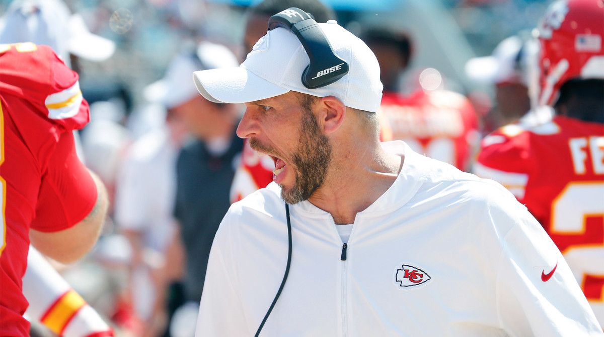 Sept. 8, 2019; Jacksonville, FL, USA; Kansas City Chiefs linebackers coach Britt Reid talks to his players during the second half against the Jacksonville Jaguars at TIAA Bank Field.