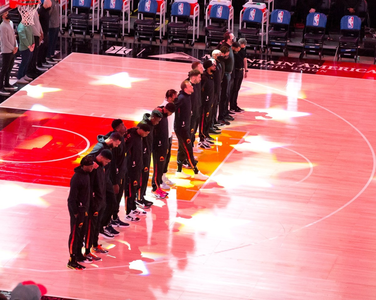 Utah Jazz stand for the National Anthem