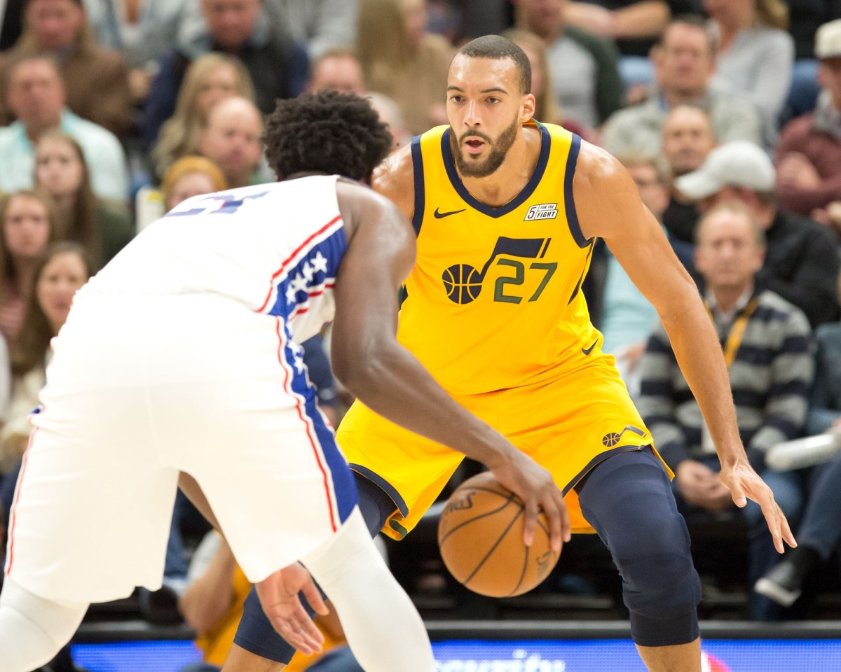 Rudy Gobert (27) guards Joel Embiid (21) during a game between the Utah Jazz and Philadelphia 76ers