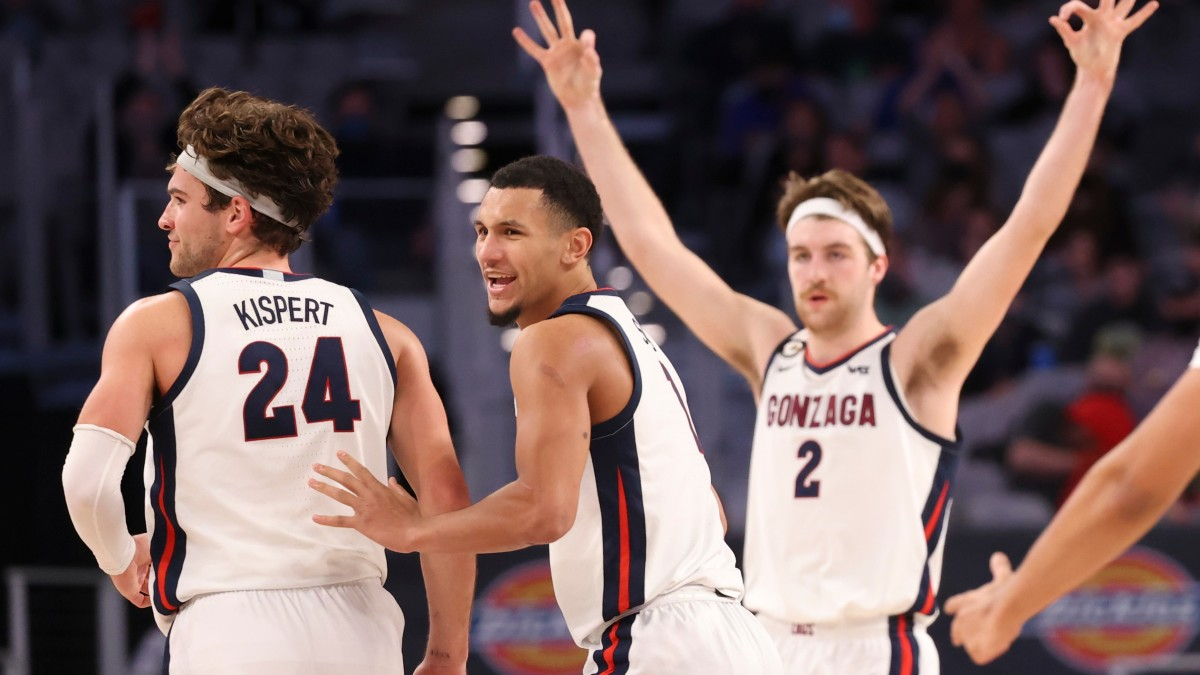 Gonzaga players celebrate during a win over Virginia on Dec. 26.