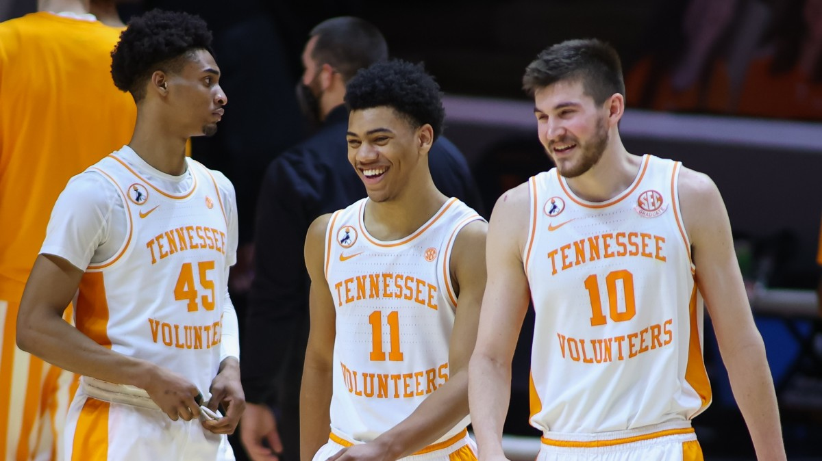 Jaden Springer and John Fulkerson share a laugh in Tennessee's win over Georgia.
