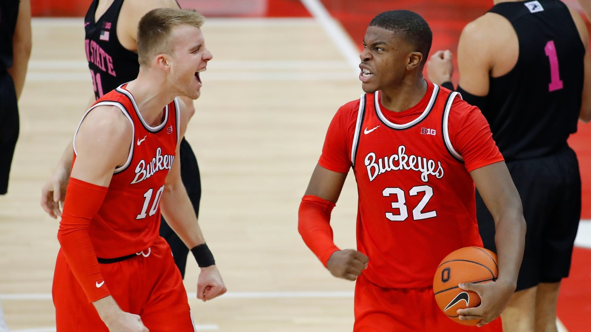 E.J. Liddell and Justin Ahrens celebrate during Ohio State's win over Penn State.