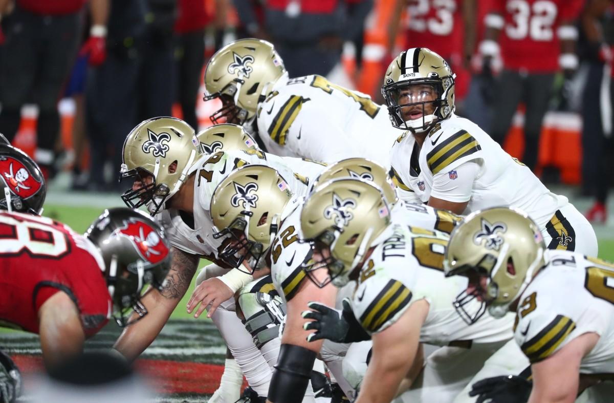 Nov 8, 2020; Tampa, Florida, USA; New Orleans quarterback Jameis Winston (2) looks on against the Buccaneers at Raymond James Stadium. Mandatory Credit: Kim Klement-USA TODAY