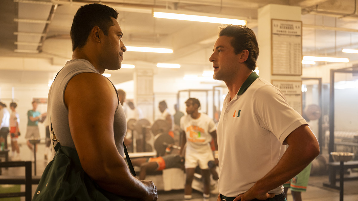 """Production still of Ed Orgeron on NBC's """"Young Rock"""""""