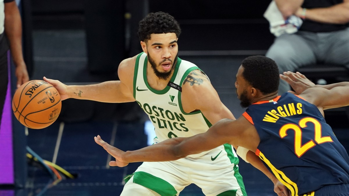 Celtics' Jayson Tatum on Warriors' Andrew Wiggins