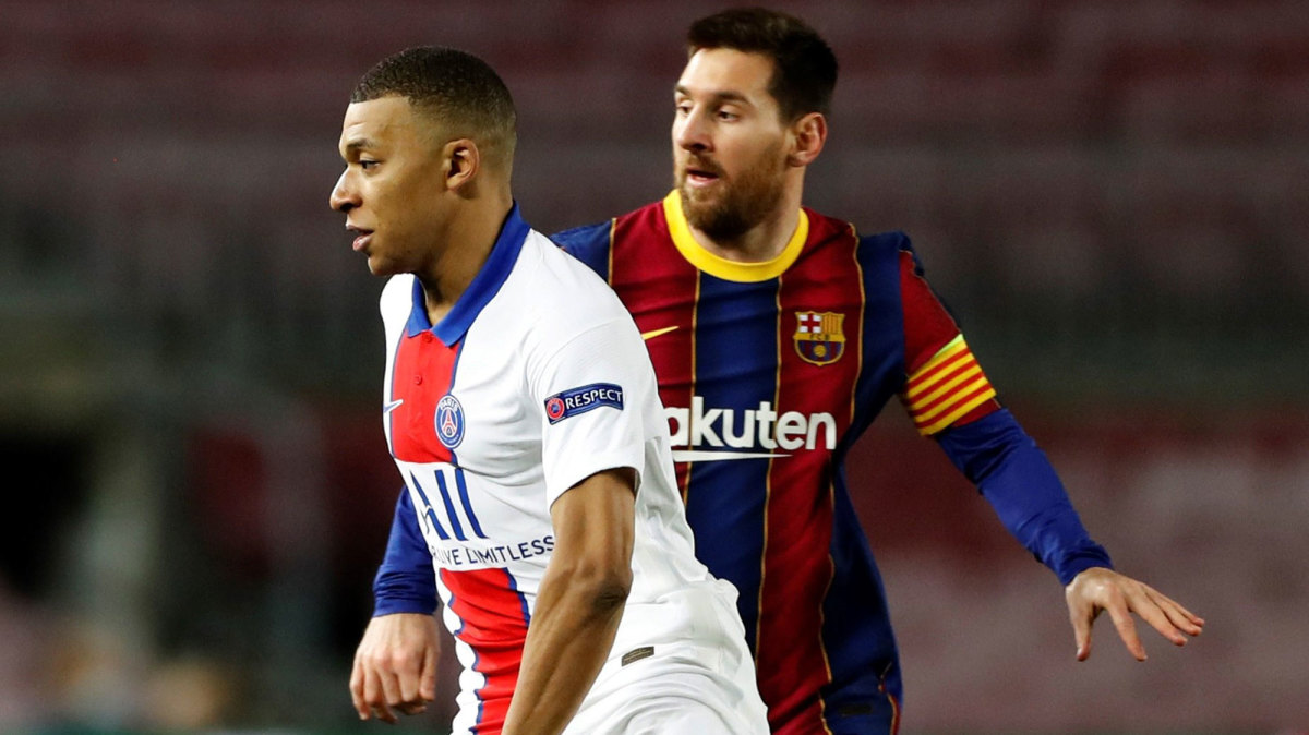 PSG's Kylian Mbappe and Barcelona's Lionel Messi in the Champions League