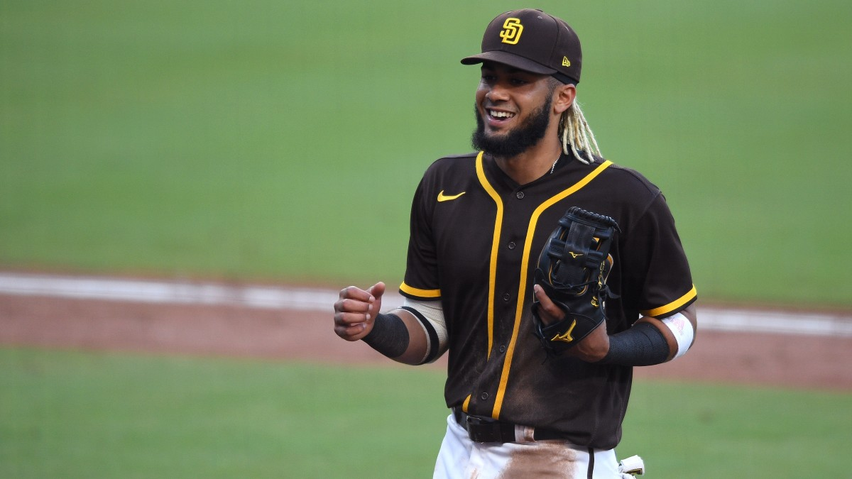 Padres shortstop Fernando Tatis Jr. plays against the Dodgers in an exhibition game.