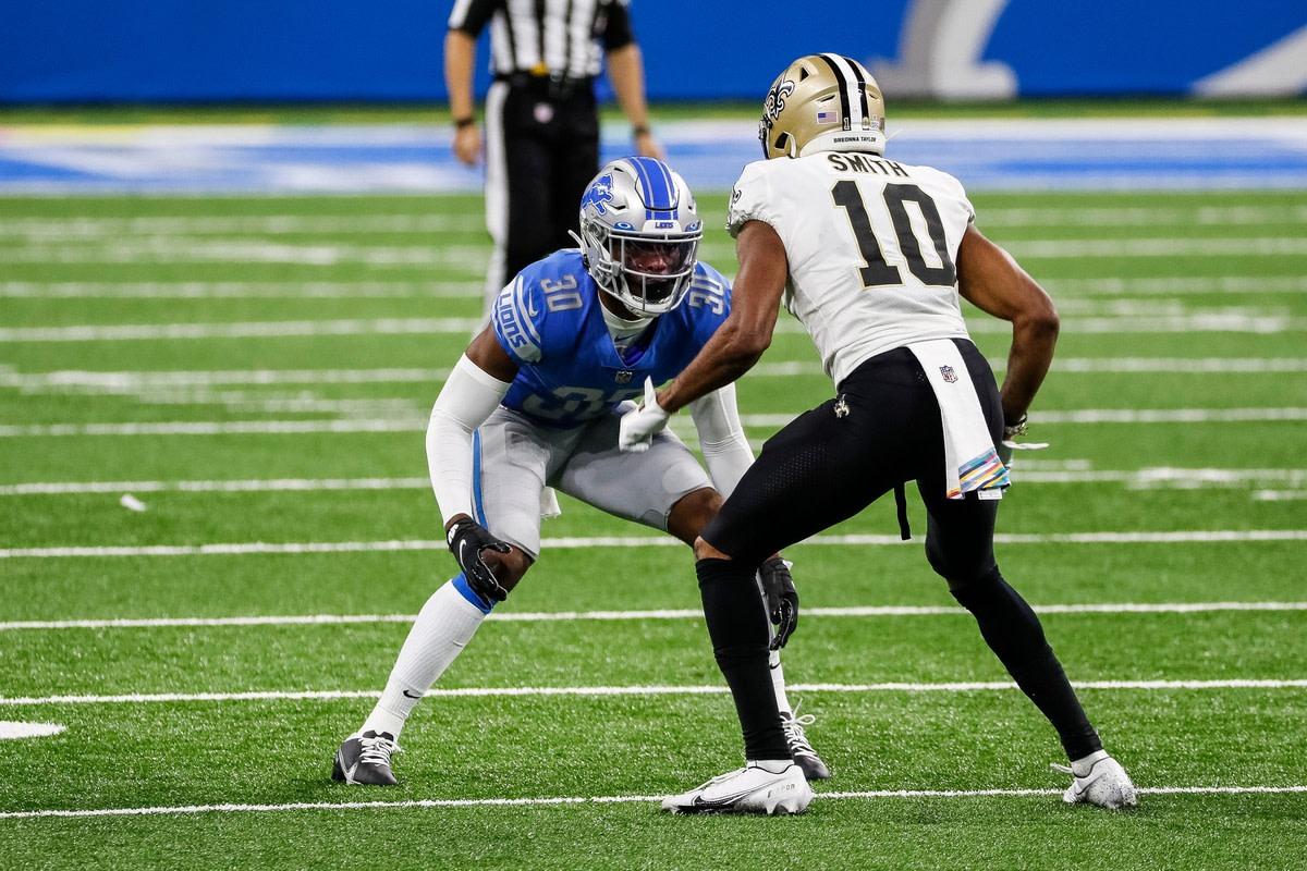 Detroit cornerback Jeff Okudah defends New Orleans receiver Tre'Quan Smith Sunday, October 4, 2020 at Ford Field© Junfu Han via Imagn Content Services, LLC