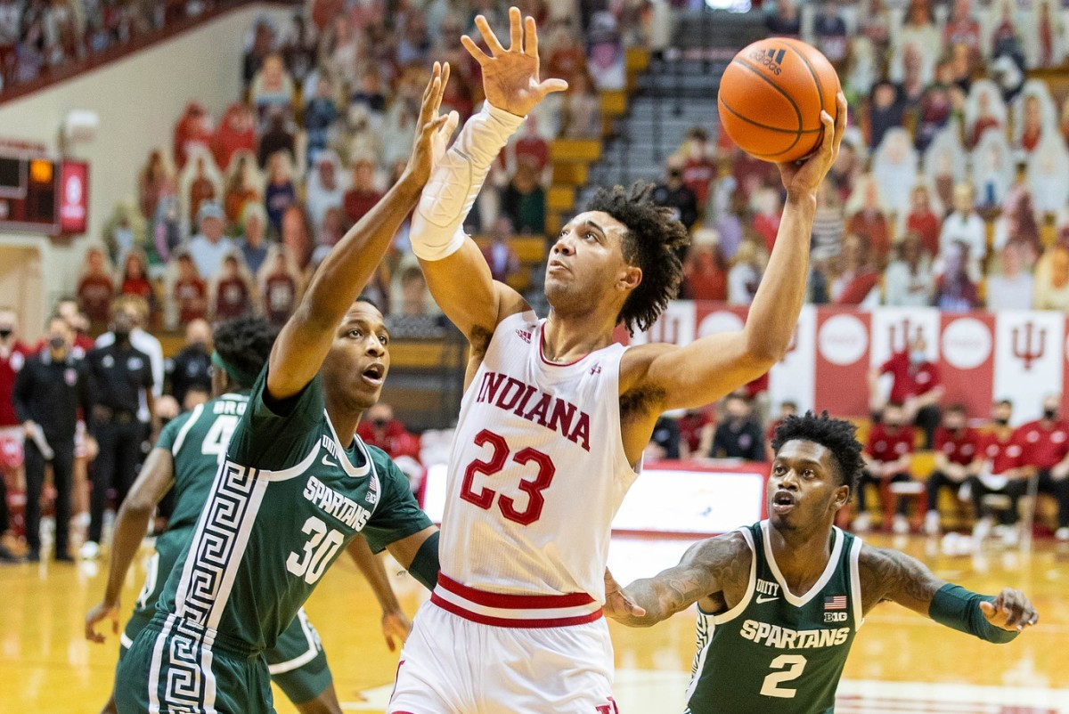 Trayce Jackson-Davis scored a career-high 34 points against Michigan State on Saturday. (USA TODAY Sports)