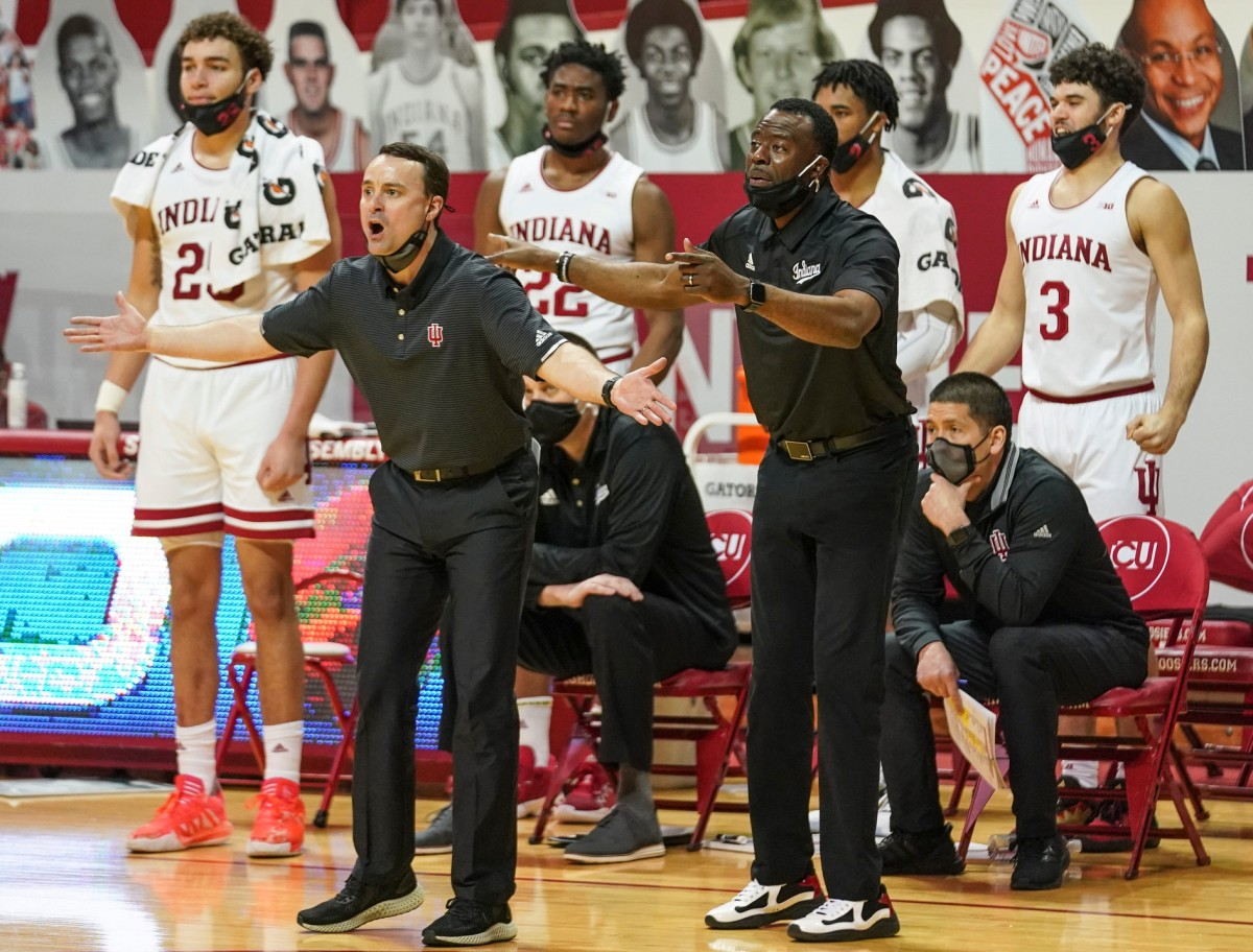 Indiana coach Archie Miller complains about a call during the Hoosiers' loss to Michigan State on Saturday. (USA TODAY Sports)