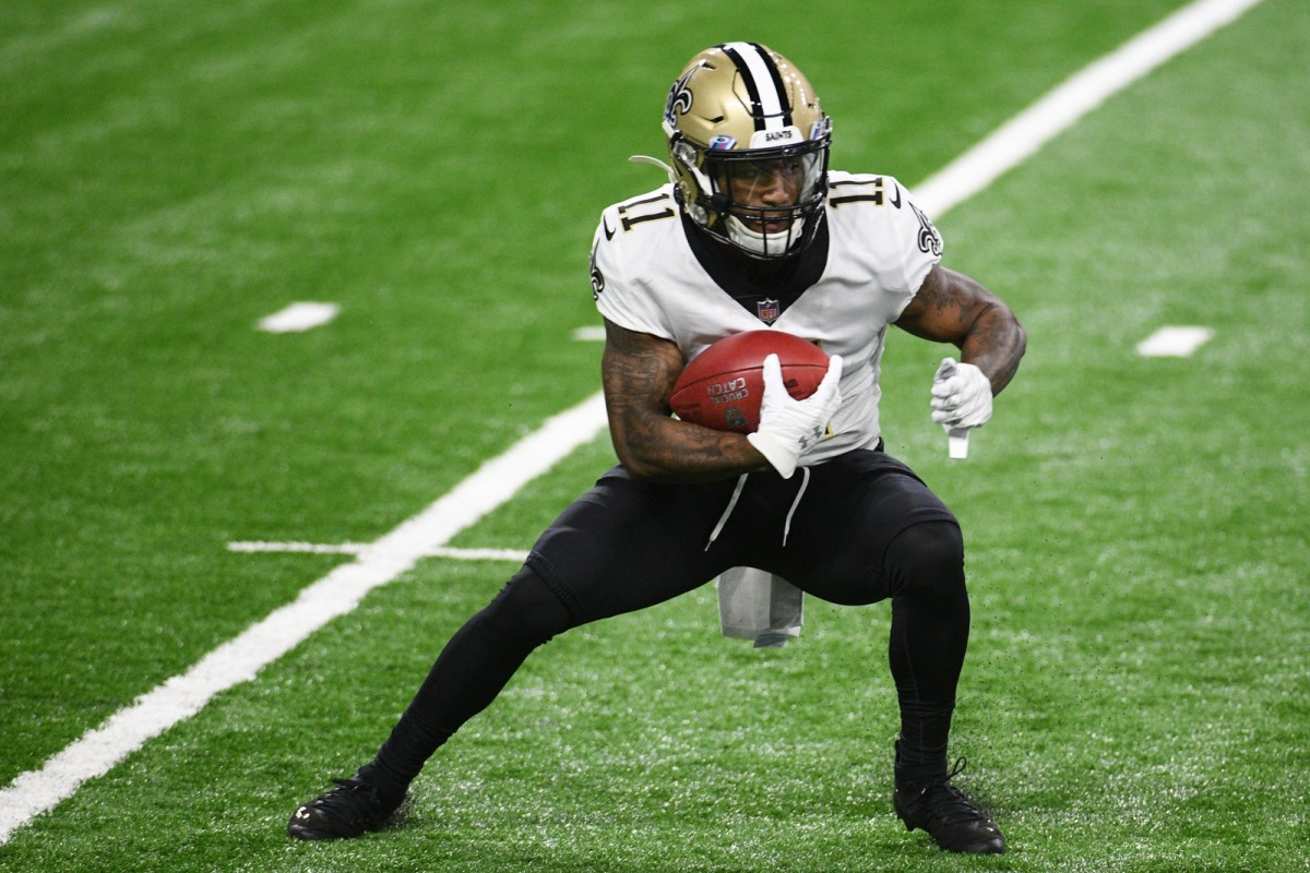 Oct 4, 2020; Detroit, Michigan, USA; Saints wide receiver Deonte Harris (11) runs the ball against the Detroit Lions at Ford Field. Mandatory Credit: Tim Fuller-USA TODAY