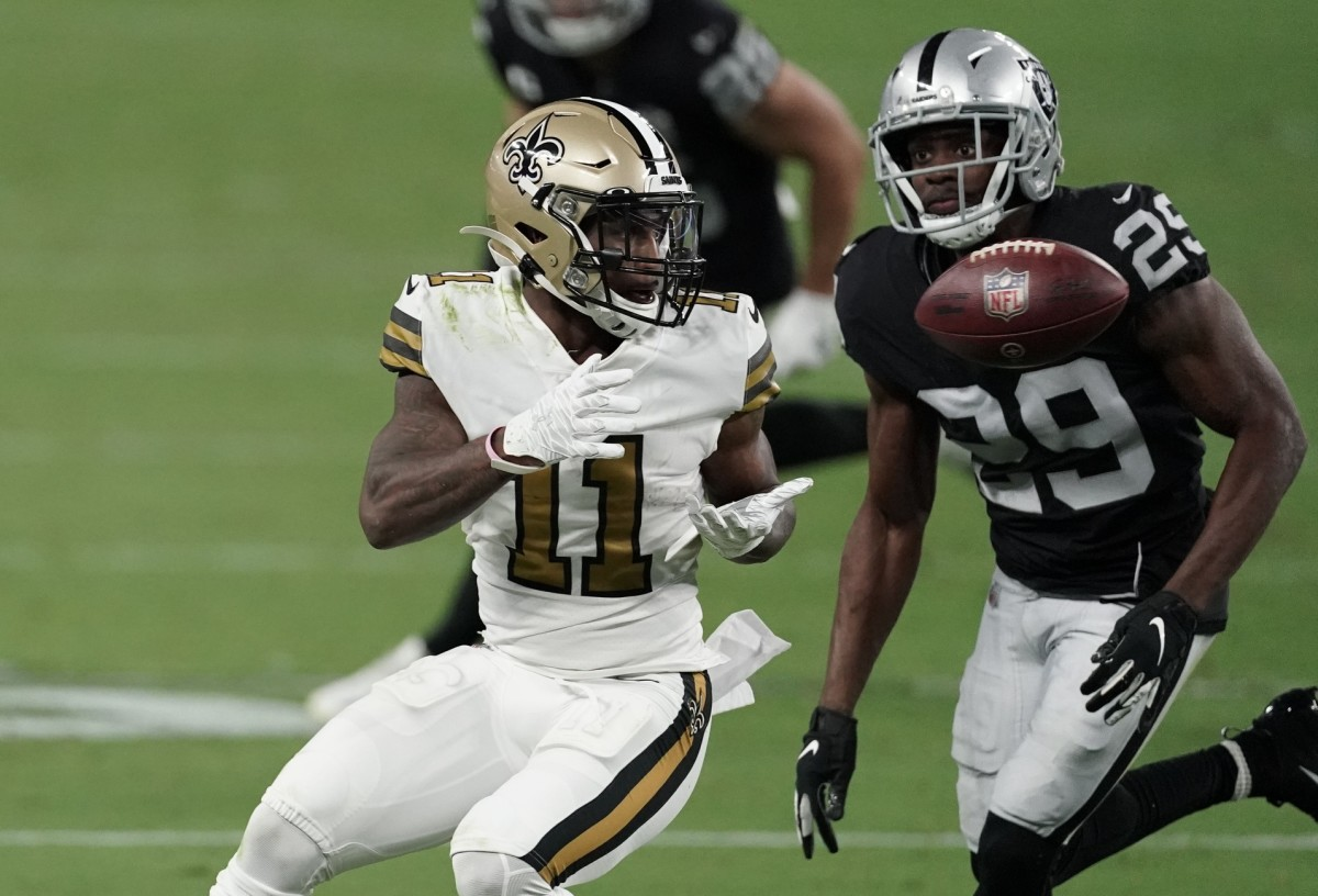 Sep 21, 2020; Paradise, Nevada, USA; New Orleans wide receiver Deonte Harris (11) catches a pass against Raiders free safety Lamarcus Joyner (29) Mandatory Credit: Kirby Lee-USA TODAY Sports