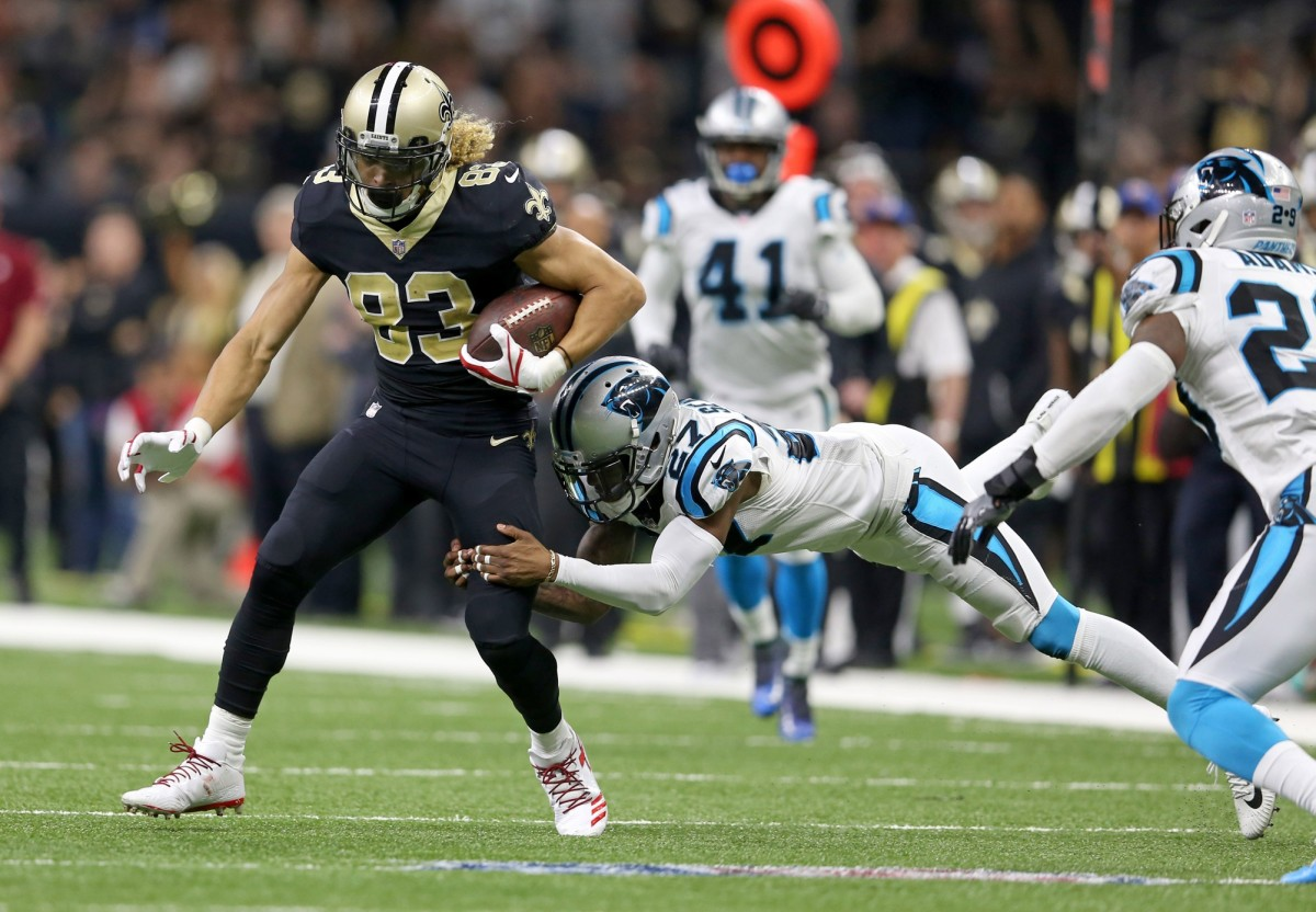 Dec 3, 2017; New Orleans, LA, USA; Saints wide receiver Willie Snead (83) is tackled by Carolina Panthers cornerback Kevon Seymour (27) at the Mercedes-Benz Superdome. Mandatory Credit: Chuck Cook-USA TODAY Sports