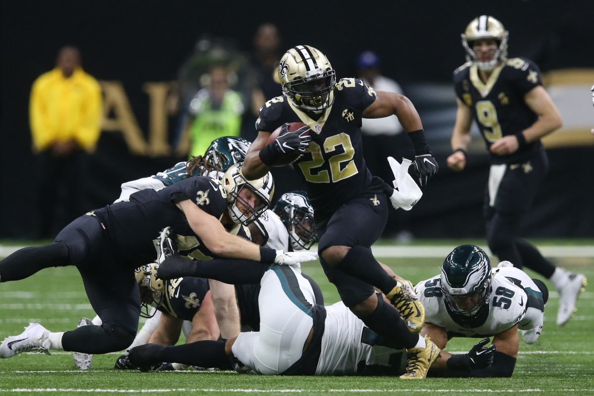 Jan 13, 2019; New Orleans, LA, USA; Saints running back Mark Ingram (22) runs against the Eagles during the NFC Divisional playoff football game at Mercedes-Benz Superdome. Mandatory Credit: Chuck Cook-USA TODAY