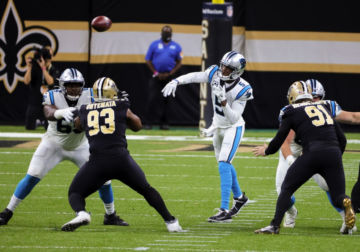 Oct 25, 2020; New Orleans, Louisiana, USA; Panthers quarterback Teddy Bridgewater (5) throws against the New Orleans Saints at the Mercedes-Benz Superdome. Mandatory Credit: Derick E. Hingle-USA TODAY
