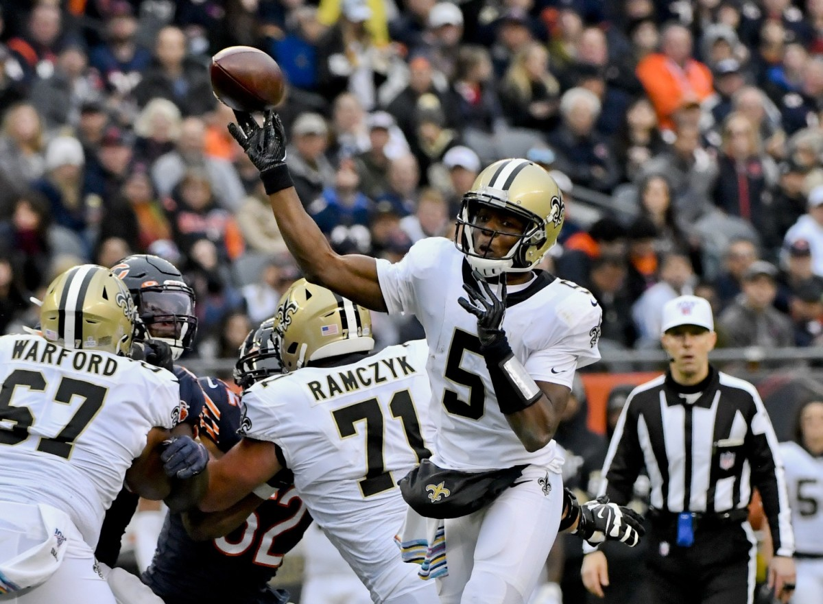 Oct 20, 2019; Chicago, IL, USA; Saints quarterback Teddy Bridgewater (5) passes against the Chicago Bears during the second half at Soldier Field. Mandatory Credit: Matt Marton-USA TODAY