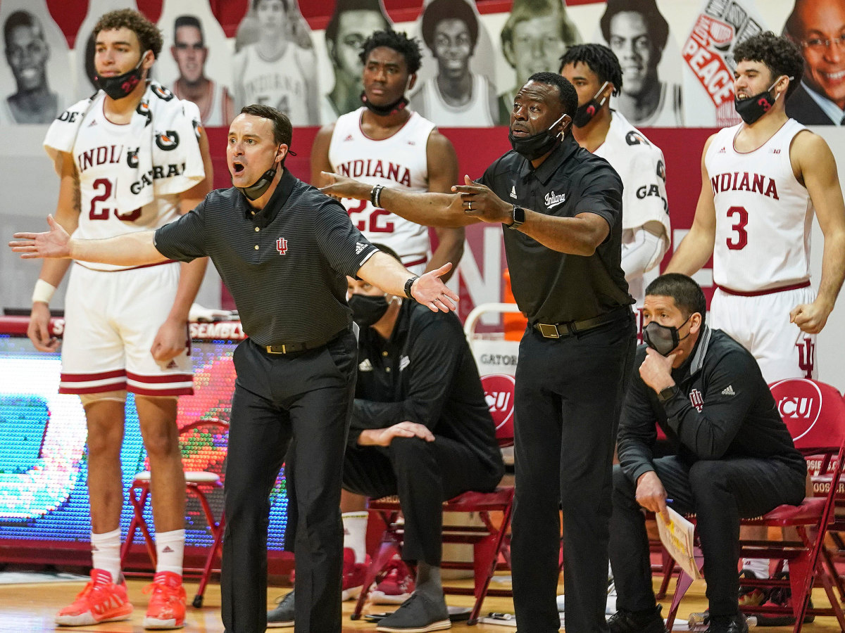 Indiana coach Archie Miller yells during a game