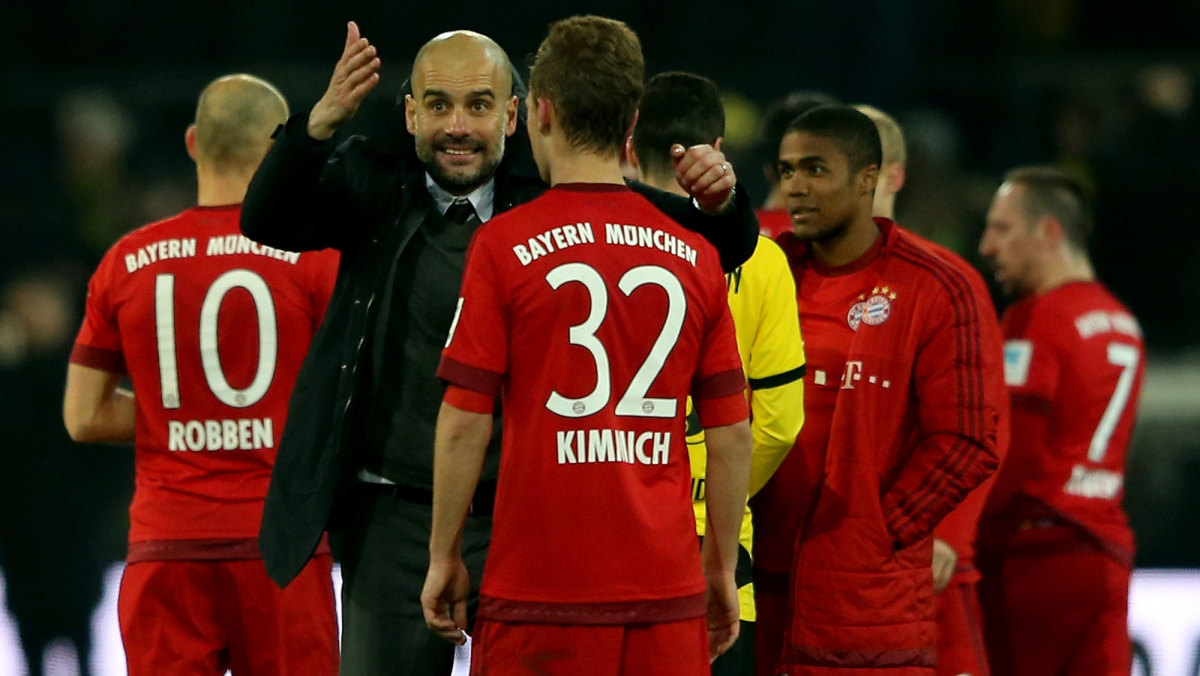 Pep Guardiola and Joshua Kimmich after a Bayern Munich vs. Dortmund match