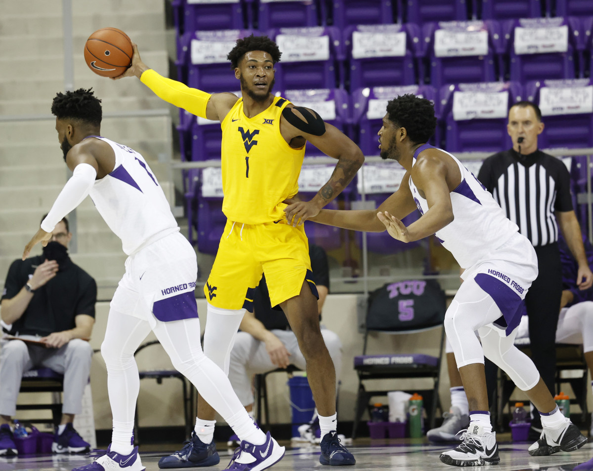 West Virginia forward Derek Culver (1) recorded his 11th double double of the season with 18 points and 14 rebounds in the Mountaineers 74-66 win on Tuesday night.