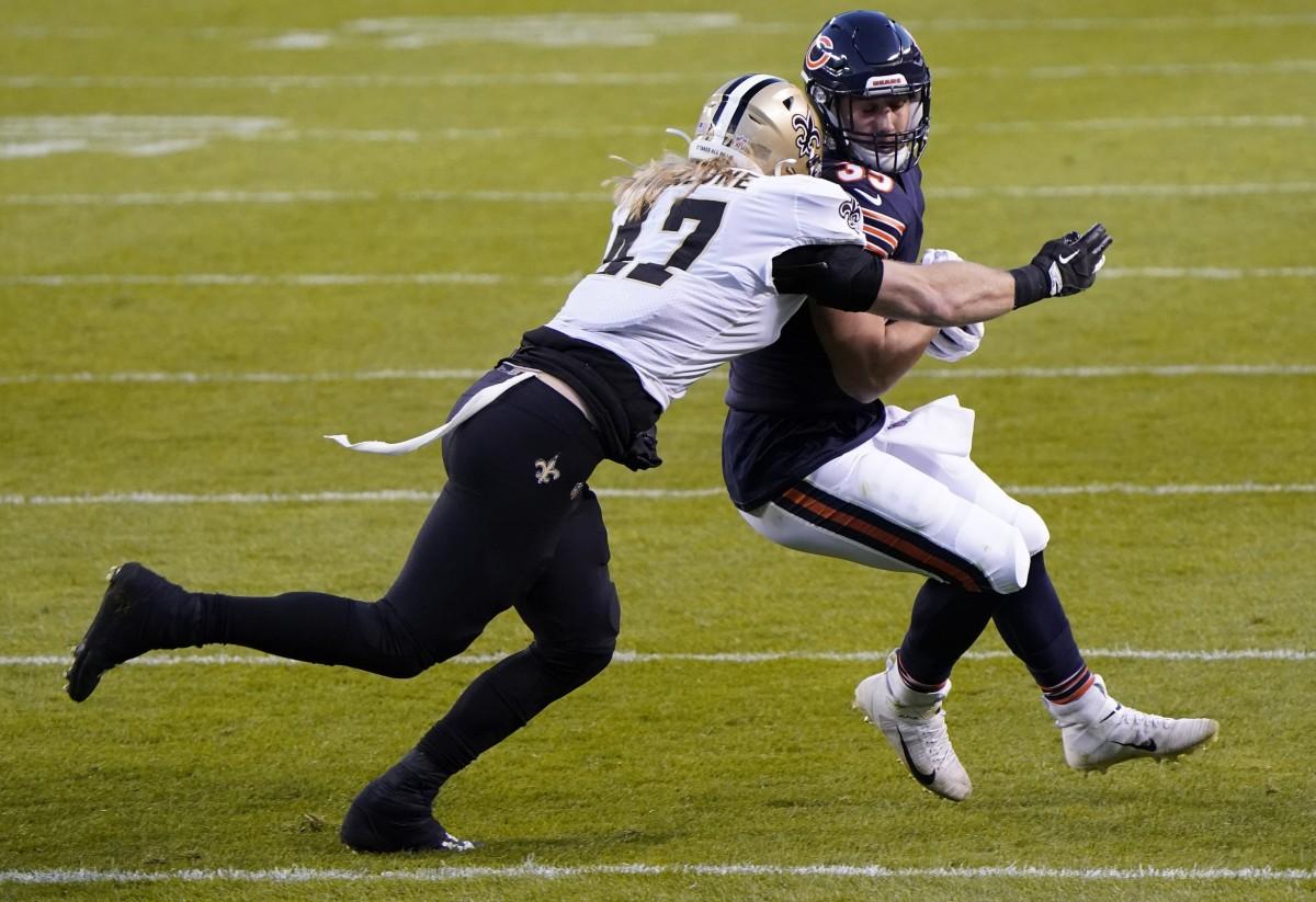 Nov 1, 2020; Chicago, Illinois, USA; Bears running back Ryan Nall (35) makes a catch against Saints middle linebacker Alex Anzalone (47). Mandatory Credit: Mike Dinovo-USA TODAY