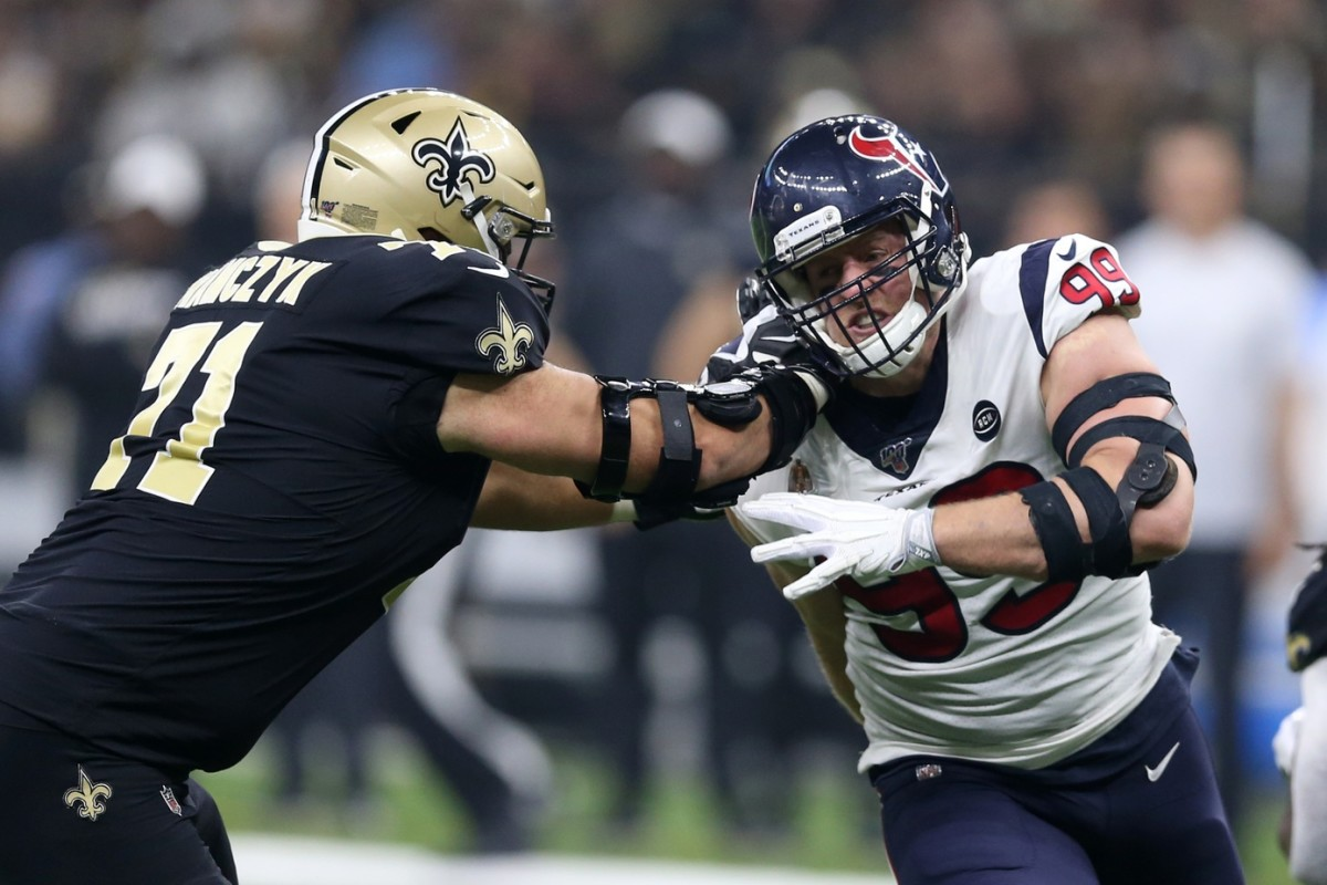 Sep 9, 2019; New Orleans, LA, USA; Houston defensive end J.J. Watt (99) is blocked by Saints offensive tackle Ryan Ramczyk (71). Mandatory Credit: Chuck Cook-USA TODAY