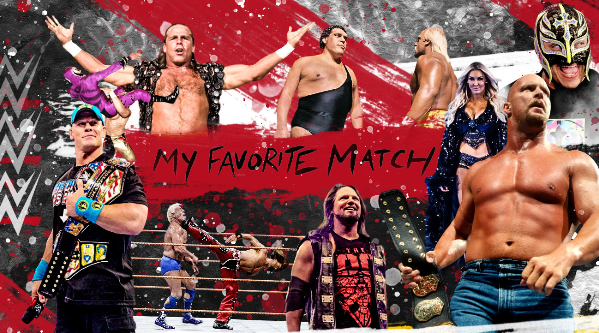 Illustrated graphic featuring WWE wrestlers