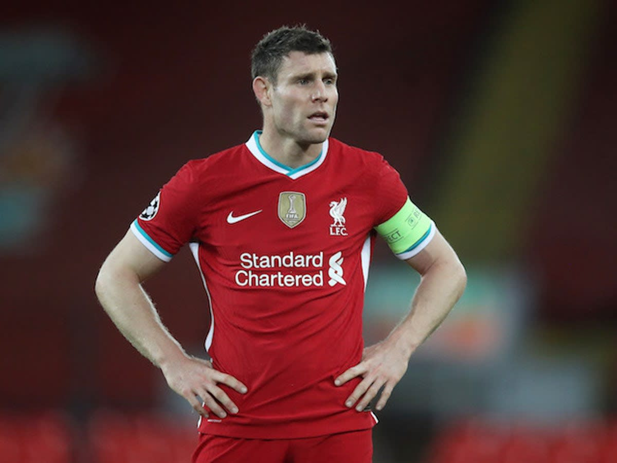 James Milner donning the captain's armband for Liverpool.