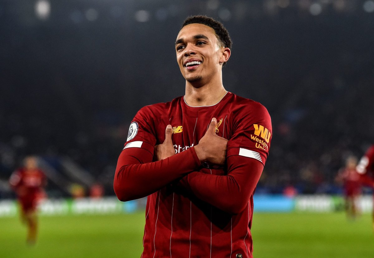 LEICESTER, ENGLAND - DECEMBER 26: (THE SUN OUT, THE SUN ON SUNDAY OUT) Trent Alexander-Arnold of Liverpool celebrating after scoring a goal during the Premier League match between Leicester City and Liverpool FC at The King Power Stadium on December 26, 2019 in Leicester, United Kingdom. (Photo by John Powell/Liverpool FC via Getty Images)