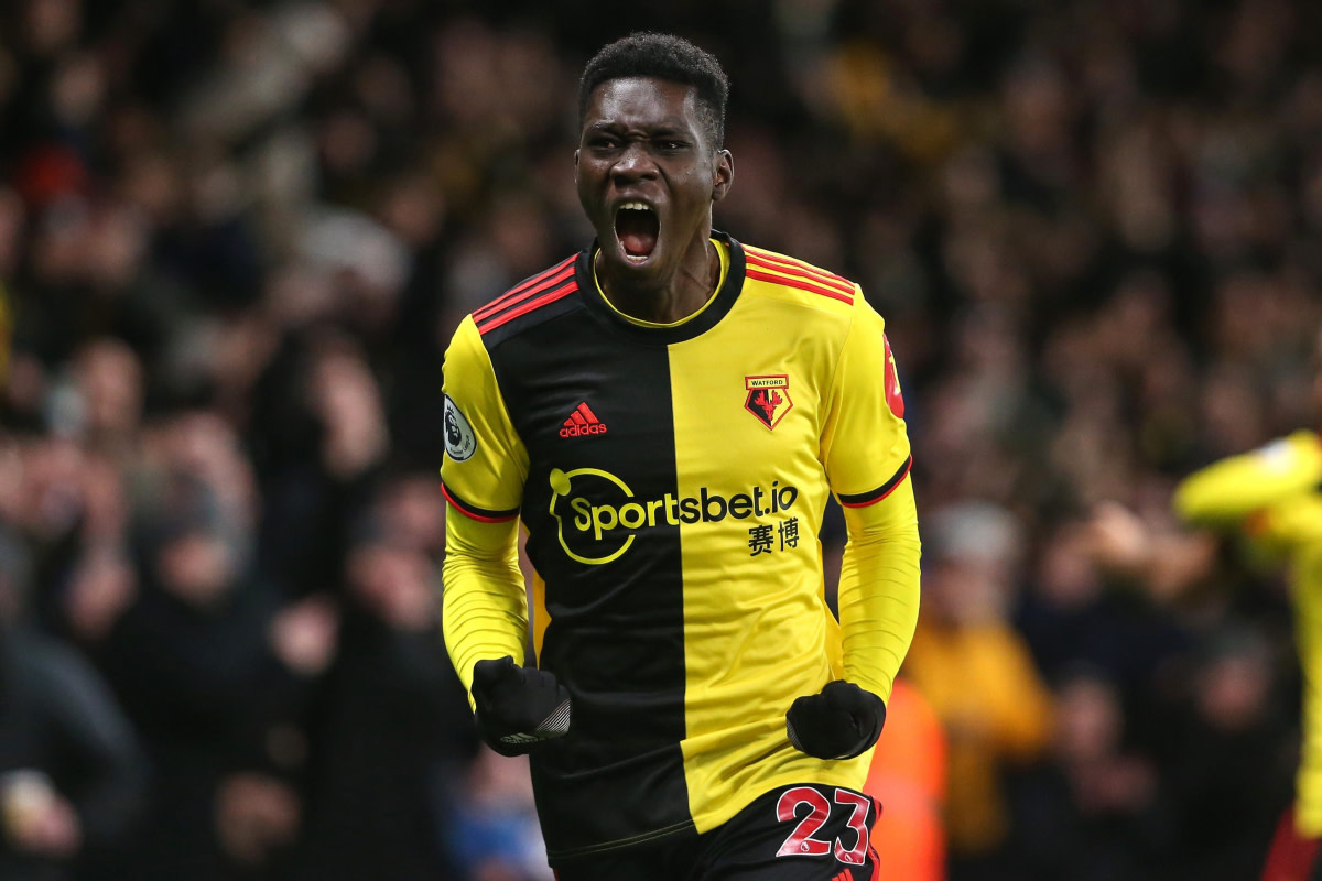 Ismaila Sarr featuring for Watford in the Premier League.