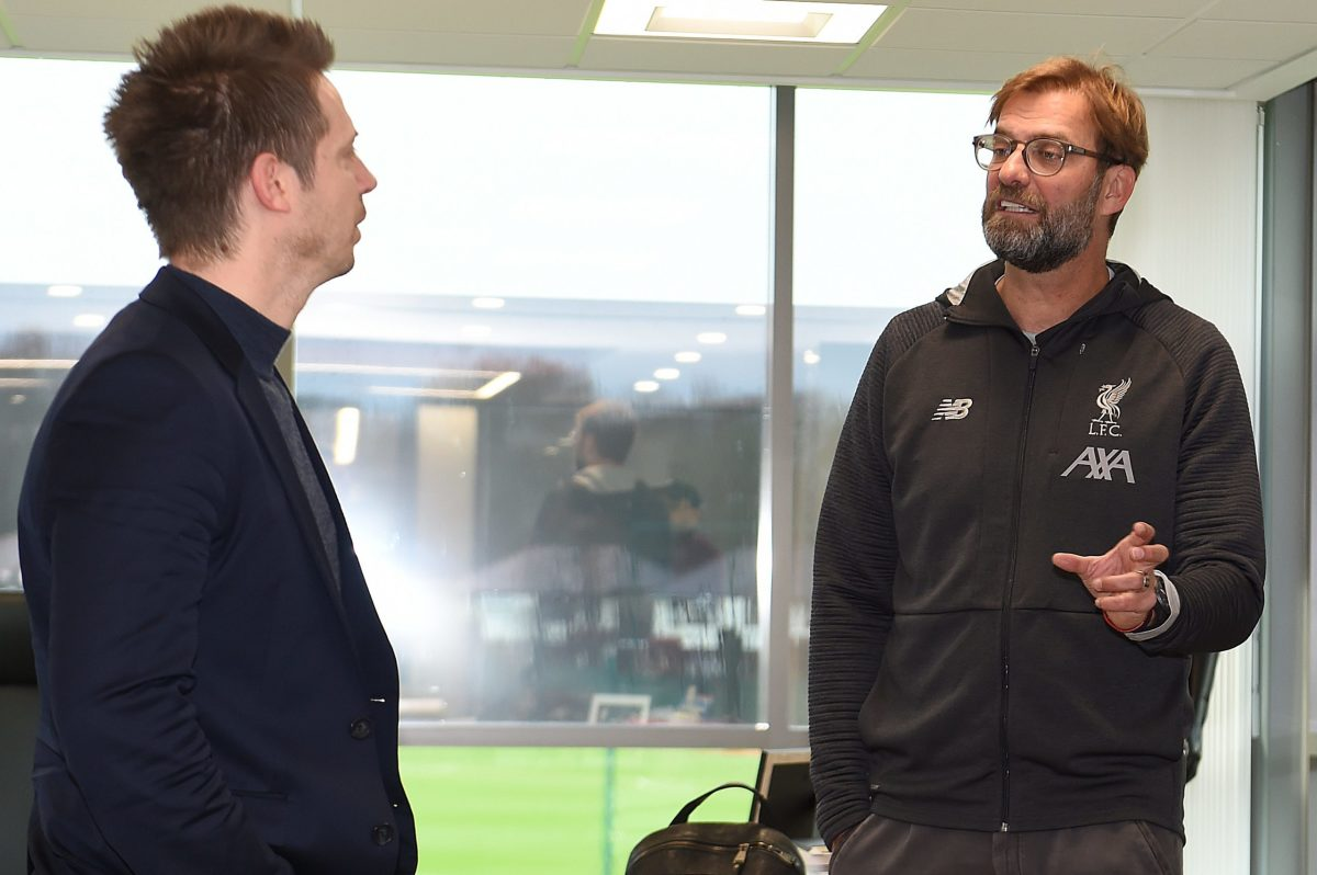 Michael Edwards and Jurgen Klopp talking Liverpool