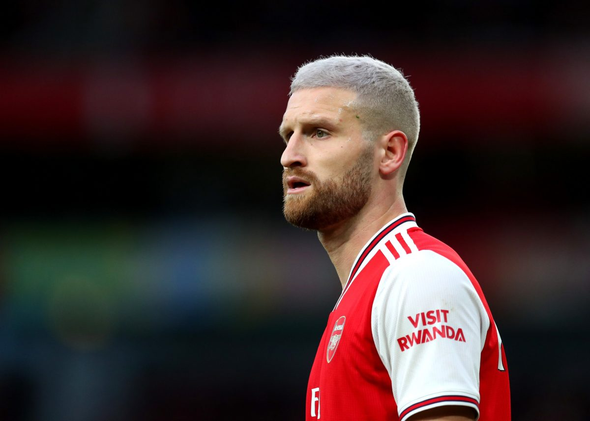 LONDON, ENGLAND - FEBRUARY 23: Shkodran Mustafi of Arsenal looks on during the Premier League match between Arsenal FC and Everton FC at Emirates Stadium on February 23, 2020 in London, United Kingdom. (Photo by Catherine Ivill/Getty Images)