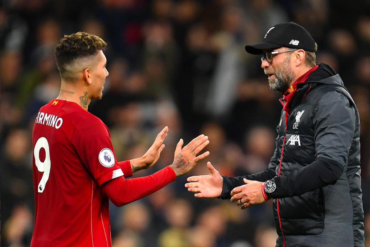 Jurgen Klopp, Manager of Liverpool embraces Roberto Firmino of Liverpool following the Premier League match between Tottenham Hotspur and Liverpool FC at Tottenham Hotspur Stadium on January 11, 2020 in London, United Kingdom.