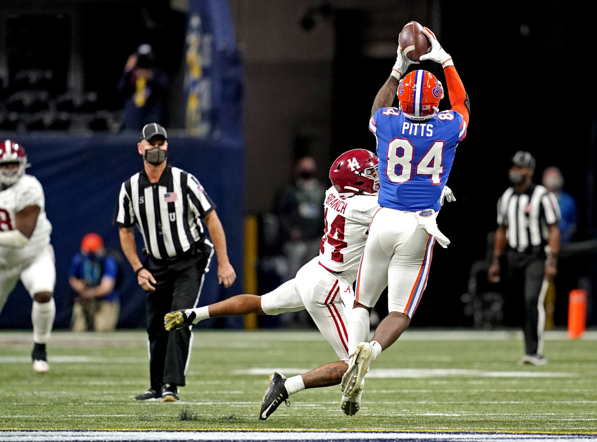 Pitts (84) became the Gators most reliable weapon in route to a SEC-East title.Mandatory Credit: Dale Zanine-USA TODAY Sports