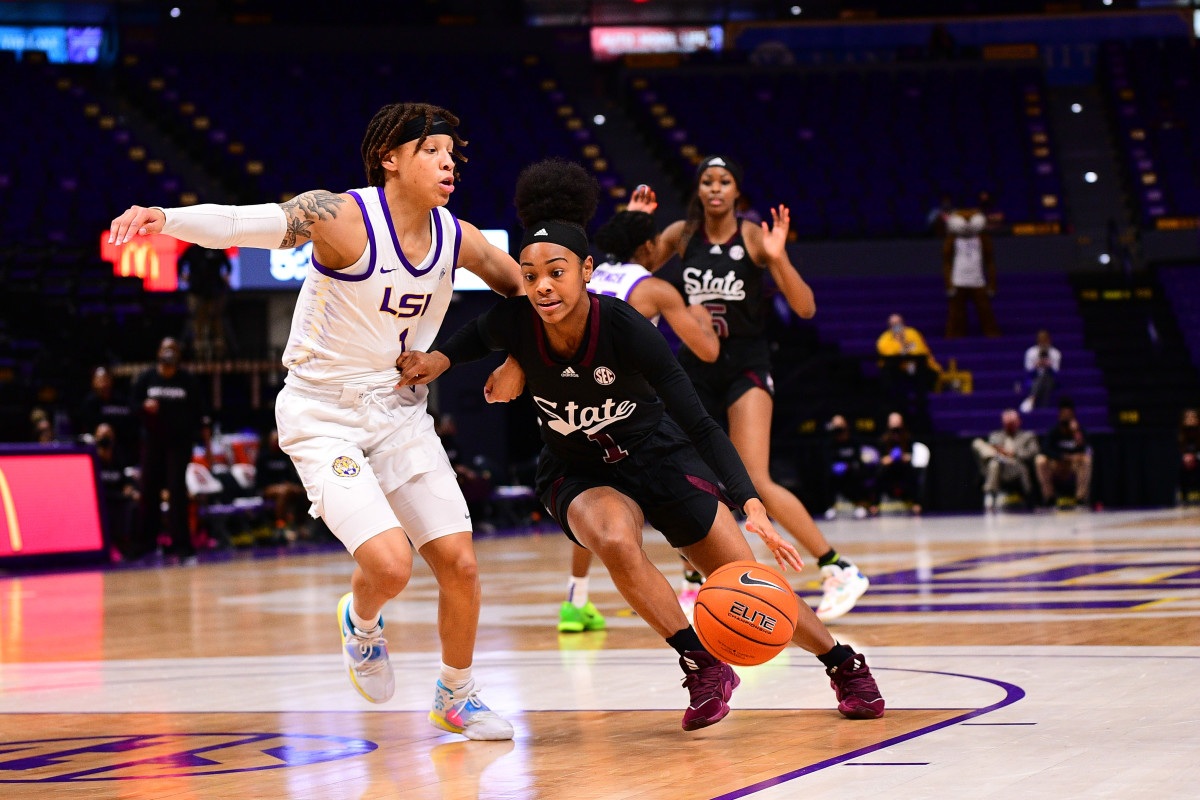 Mississippi State's Myah Taylor, No. 1, dribbles against LSU on Thursday night. (Photo courtesy of LSU athletics)
